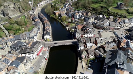 Aerial photo of La Roche en Ardenne is Walloon municipality of Belgium located in province of Luxembourg arrondissement of Marche Famenne and is one of most popular tourist destinations in Ardennes