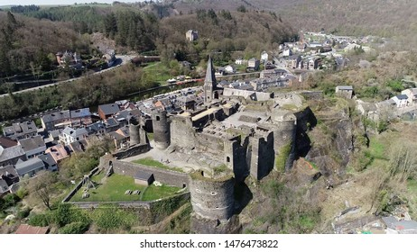 Aerial photo of la Roche en Ardenne castle located in eponymous Walloon municipality of Belgium in province of Luxembourg the small town is one of the most popular tourist destinations in Ardennes