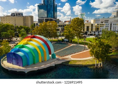 Aerial photo Lake Eola Amphitheather Orlando FL USA