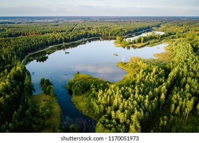 Aerial photo of the lake in the forests. Lake with small islands