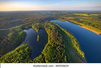 Aerial photo of lakes in National park Narachanski (Belarus)