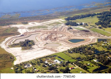 Aerial photo of land cleared and under construction for a new residential sub-division