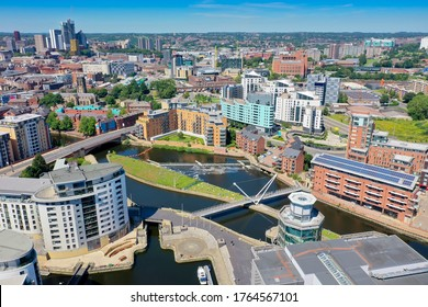 Aerial photo of the Leeds City Centre taken from the area known as The Leeds Dock on a bright sunny summers day