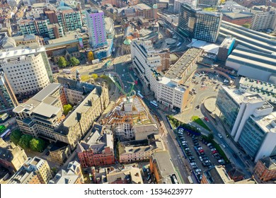 Aerial photo of the Leeds Train Station, it also shows construction work being done on the old Majestic building located in the Leeds City Centre in West Yorkshire UK