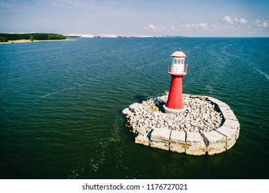 Aerial photo of lighthouse in Pervalka city, Curonian spit, Lithuania