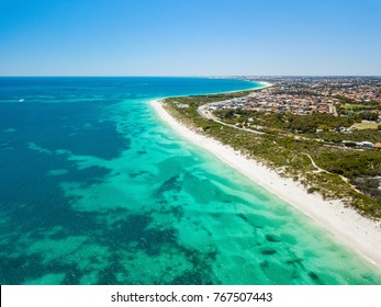 Aerial photo looking north from Hillarys Beach in the northern suburbs of Perth, Western Australia.