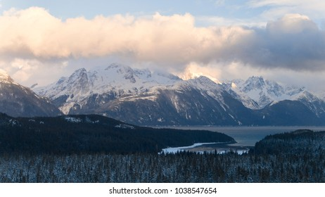Aerial photo of the Lynn Canal with the Coast Range mountains in winter.