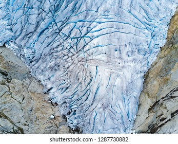 Aerial photo of majestic glacier in Norway.