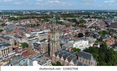 Aerial photo of Martinitoren the highest church steeple in city of Groningen Netherlands and bell tower of Martinikerk it is located at the north-eastern corner of the Grote Markt Main Market Square