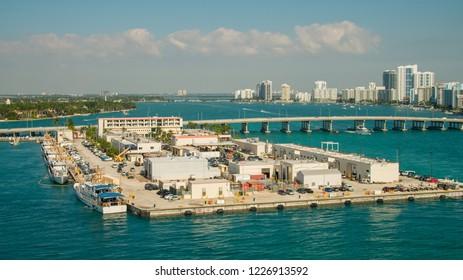 Aerial photo Miami Beach Coast Guard naval base station island