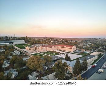 Aerial photo of Mimi Castle at sunset. Bulboaca, Moldova