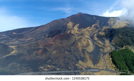 Aerial photo of Mount Etna peak showing rough hostile terrain