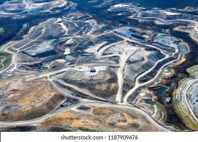 Aerial photo, Mountain Top Removal Coal Mining site, near Cowen, Webster County, West Virginia, USA