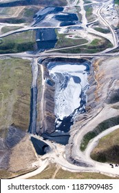 Aerial photo, Mountain Top Removal Coal Mining site, sludge pond, coal slurry impoundment, near Cowen, Webster County, West Virginia, USA