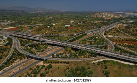 Aerial photo of multilevel junction road leading to Athens International airport, Eleftherios Venizelos, Attica, Greece