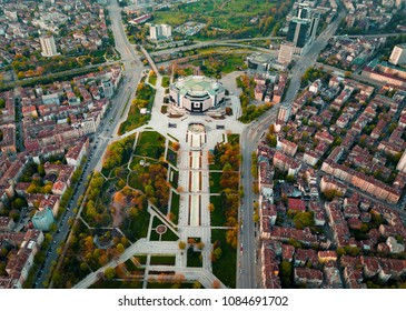 Aerial photo of National palace of culture and the surrounding park and buildings in Sofia Bulgaria