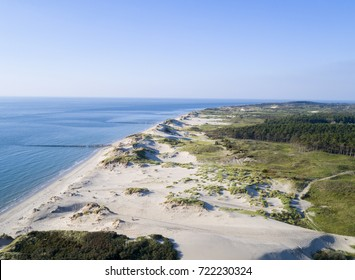 Aerial photo of a natural beach in Zeeland (The Netherlands) by drone