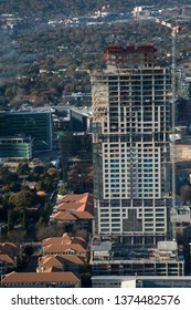 Aerial photo of new building being constructed in Sandton South Africa