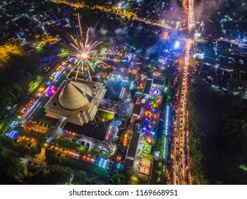 Aerial photo of new year night fireworks in Monumen Jogja Kembali or Jogja returns monument, Yogyakarta city, Indonesia