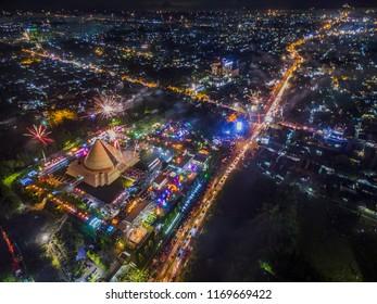 Aerial photo of new year night fireworks in Monumen Jogja Kembali or Jogja returns monument: Yogyakarta city, Indonesia - January 2017
