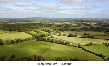 Aerial photo over countryside in rural West Berkshire, England, UK