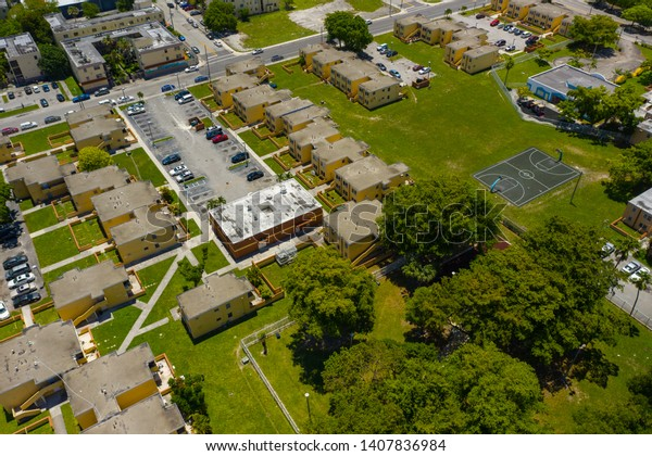 Aerial photo overtown Miami section 8 government housing