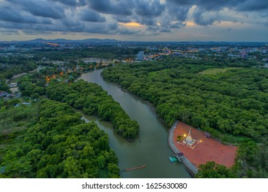Aerial photo of Pagoda near Mangrove forest, Rayong Province, Thailand