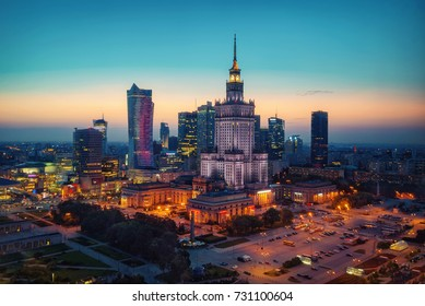 Aerial photo of the Palace of Culture and Science in Warsaw Poland. Taken during sunset on the 31st of August 2017.