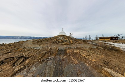Aerial photo panorama Buddhist stupa of enlightenment Ogoy on an island in Lake Baikal.
