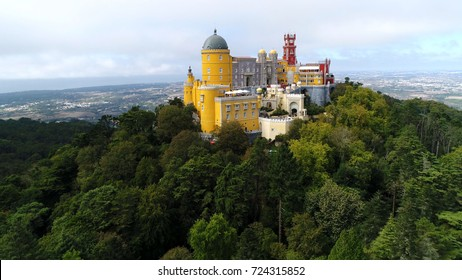 Aerial photo of Pena Palace located in Sintra near Lisbon Portugal the palace is UNESCO World Heritage Site and one of Seven Wonders of Portugal and is popular tourist attraction in Lisboa Portugal