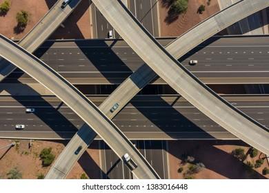 Aerial photo Phoenix Arizona USA city and highway view