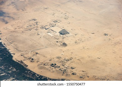Aerial photo of Pyramid of Djoser (or Djeser and Zoser), or Step Pyramid in Egypt