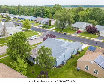 Aerial photo of the quiet street in small american town