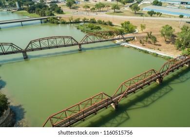 Aerial photo railroads over the Brazos River Waco Texas