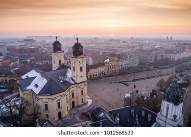 Aerial photo of Reformed Great Church in Debrecen city, Hungary