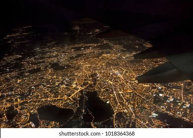 aerial photo of Rome city in Italy. airplane view at night