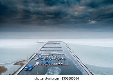 Aerial photo of Sailing boats in Lake Balaton, at Balatonfured