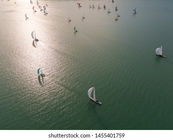Aerial photo with sailing boats on Lake Balaton