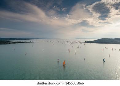 Aerial photo with sailing boats on Lake Balaton