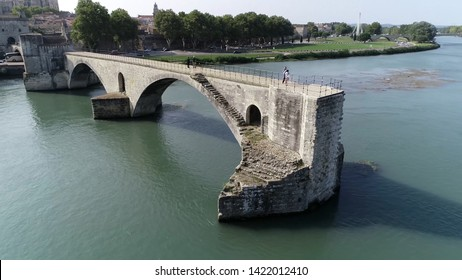 Aerial photo of Saint Bénézet also known as the Pont d'Avignon is a famous medieval bridge over the Rhone in the town of Avignon in southern France and a popular tourist attraction