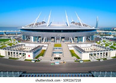 Aerial photo of Saint Petersburg stadium, also called Zenit Arena, 2018 FIFA World Cup, Russia, Saint Petersburg, May 15, 2018