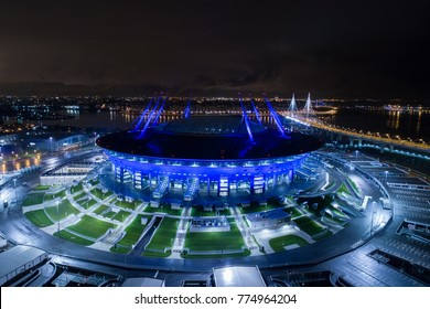 Aerial photo of Saint Petersburg stadium, also called Zenit Arena, FIFA Confederations Cup 2017, 2018 FIFA World Cup, Russia, Saint Petersburg, September 30, 2017