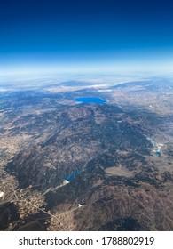 Aerial photo of Salda Lake from an airplane. Burdur Turkey