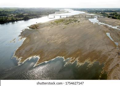 Aerial photo of sand banks in the Loire Valley silted up at Montsoreau, World Heritage, Maine-et-Loire department, Pays de la Loire region, France