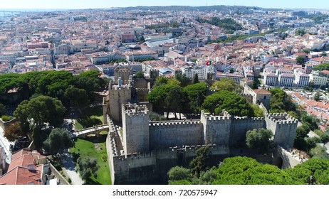 Aerial photo of Sao Jorge Castle or Saint George Castle in Portuguese Castelo de Sao Jorge Saint George Castle is Moorish castle occupying hilltop overlooking centre of Portuguese city of Lisbon