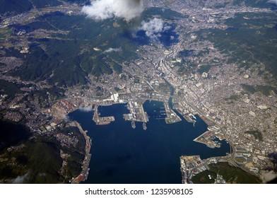 Aerial photo of Sasebo, Nagasaki