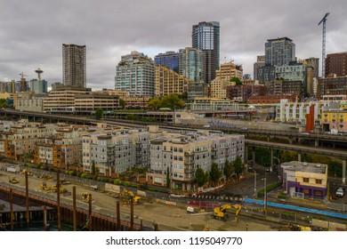 Aerial photo Seattle Market District USA