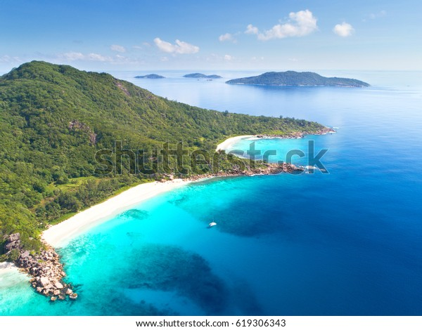 Aerial photo of Seychelles tropical beaches Petit Anse and Anse cocos at La Digue island