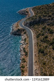 Aerial photo shore highway in turkey. Sea and road. blue sea