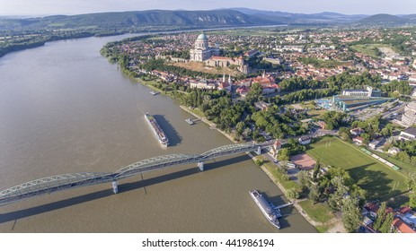 Aerial photo shows the Esztergom Basilica in the Danube bend region, Hungary